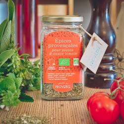 In a square jar (100gr) Organic spices for pizza