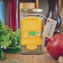 In a square jar (100gr) Organic herbs for barbecue